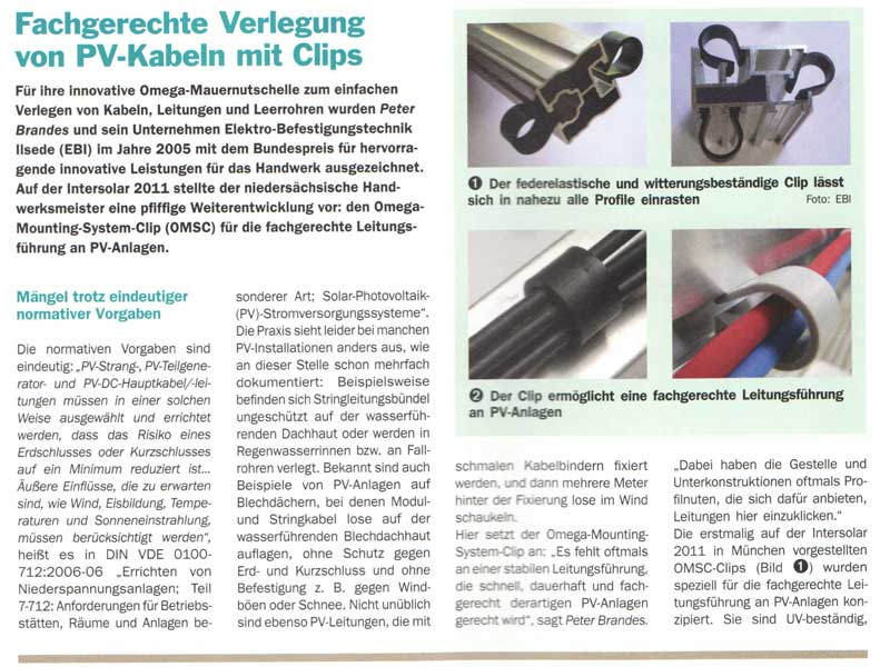 Elektro Befestigungstechnik Ilsede - oMEGA-Clip
